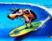 Cowabunga Cow Surfing Art Print, Bluebird Print, Birds, Cows, Holstein Art, Surfboard Art Print, Great Gift Idea