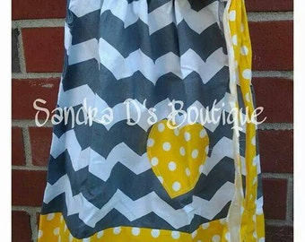 Yellow/gray chevron pillow case dress