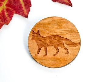 Wooden brooch Fox, Retro Laser cut pin, pin with fox