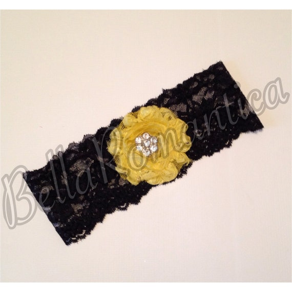 Yellow Wedding Garter Yellow Shabby Garter Set Bridal
