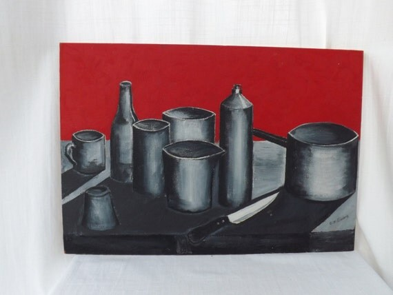 Vintage ooak art 1990s 39 39 kitchen ware on red 39 39 oil by greenvi Home decor 1990s