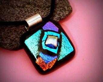 "Dichroic Glass Aqua Blue Violet ""Taos"" Pendant"