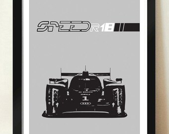 Digital Download Audi R18 24 Hour LeMans Race Car Grand Prix Poster Art Print Boys Room - 8x10 or 11x14