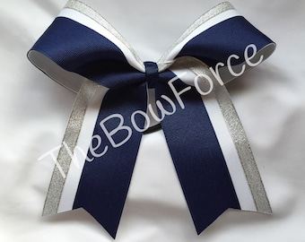Navy White Silver Cheer Bow - #161204823