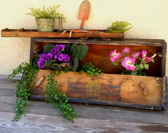 Vintage Toolbox Upcycled Garden Planter with Orchard Nursery Logo & Tray, Spring Garden Decor