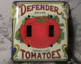 Metal Tomato Switch Cover - Tomatoes Defender Brand - Food Switch Plates - 2T Double Toggle