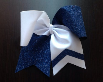 White / Navy Glitter Cheer Bow with One arrow Cheer Bow