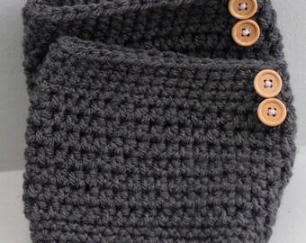 Dark grey boot cuffs, grey boot toppers, boot liners, grey legwarmers, button boot cuffs, boot socks, winter leg cuffs, rainboot toppers