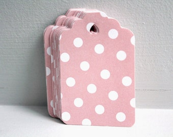 25 Pink gift tags, Polka dot tags, Baby shower favors, Girl baby shower, Pink favor tags, Baby girl tags, Pink name tags, Pink party favors