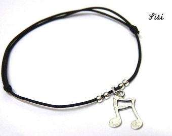 Silver black cord bracelet music