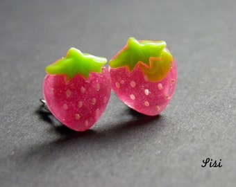 Earrings pink strawberry on clip