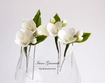 White jasmine flowers Hair Pins (SET 4), Wedding Floral, White Hair pins, hair accessories, Bridal headpieces, summer flowers, prom