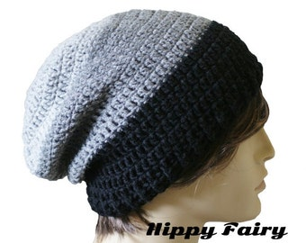 Black and Grey Beanie,Mens stripe beanie, slouch hat, crochet beanie Mens beanie hat, crochet mens hat, beanie for men, vegan hat