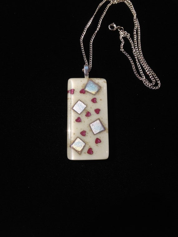 Fused Glass Pendant with copper and silver inclusions