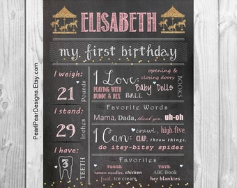 Carousel Birthday Chalkboard Poster Sign: Year Girl /Boy First Birthday Chalkboard Stat digital file prop/decor - Monthly/ First year bday