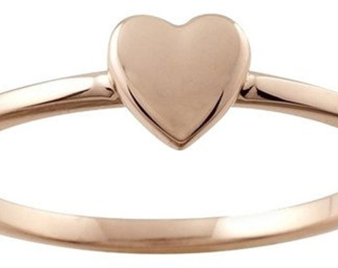 Designer 14K Rose Gold Stackable Ring with Heart Accent ~ FREE SHIPPING