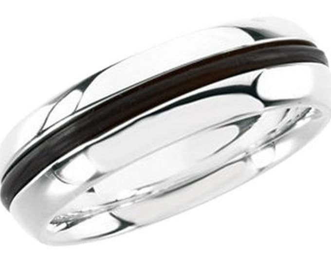 Unique Ladies Designer .925 Sterling Silver and Black Rubber Fashion Ring ~ FREE SHIPPING