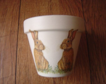 Hand Painted and Decoupaged Decorative Flower Pots  Bunny Rabbits