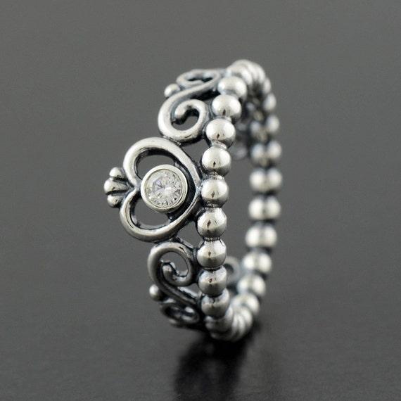 authentic genuine pandora silver my princess ring size 7