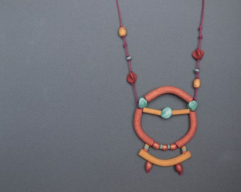 polymer clay necklace Statement necklace Tribal necklace Beadwork necklace Copper necklace Ochre Metal free Boho necklace Casual Indie Mint
