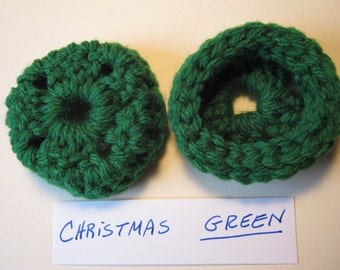 XMAS GREEN  Ear Pads, Ear Cookies for Phone Headset, Call Center, Hand-crochetted, NEW.