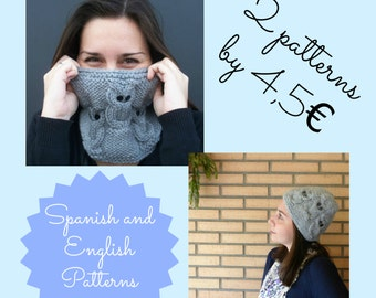 Two awesome knitting patterns: owls hat and cowl. Instant Download