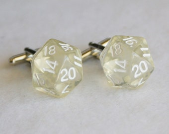 Clear 20 Sided Dice Cufflinks d20 Free gift bag