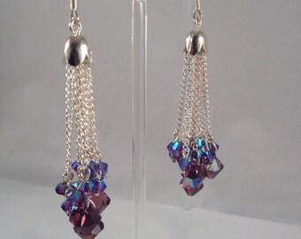 Long Swarovski crystal and silver chain fringe earrings
