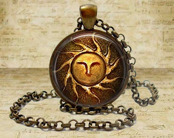 Handmade dark souls ii etsy heirs of the sun dark souls ii pendant necklace geekery video game pc game pendant gift aloadofball Choice Image