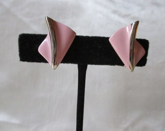 1960s American Pink Metal Clip-on Earrings. Sweet 16 Gift, Graduation Gift, Christmas Gift, Stocking Stuffer, Boxing Day Gift,