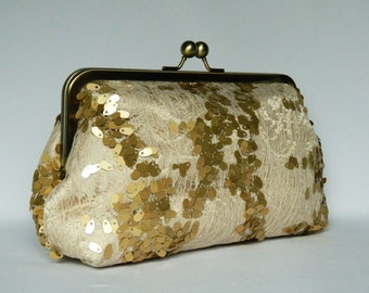 Bridal Clutch, Champagne and Gold  Sequin Lace Clutch, Clutch Purse, Wedding Clutch Purse,Brides Clutch Purse,  Evening Clutch