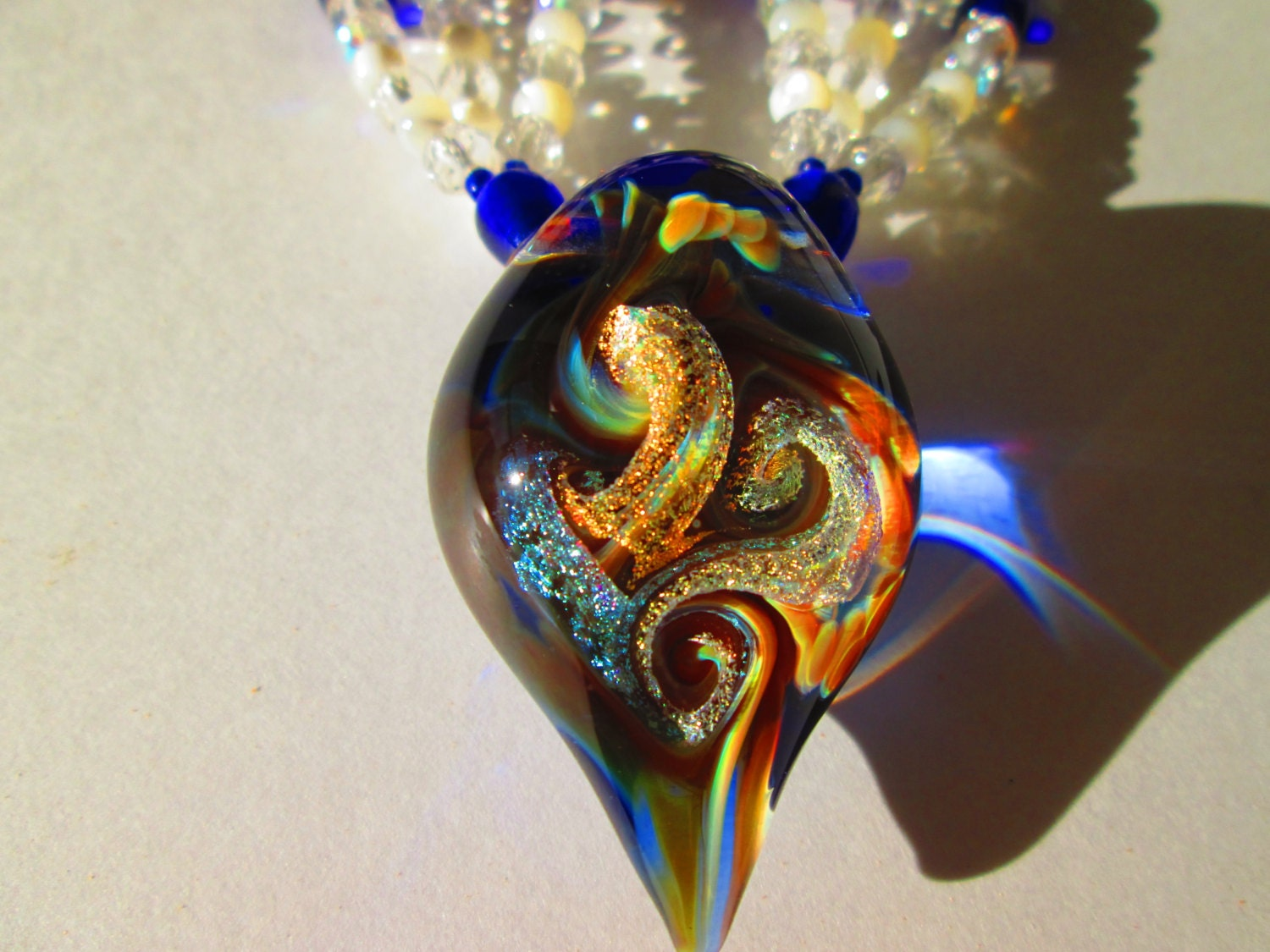 hand blown dichroic glass pendant necklace jewelry bead