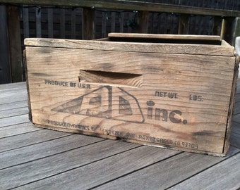 Rustic, Primitive Wooden Produce Crate, Wood Box, Shabby Chic, Country Rustic Home Kitchen Decor, Album Storage