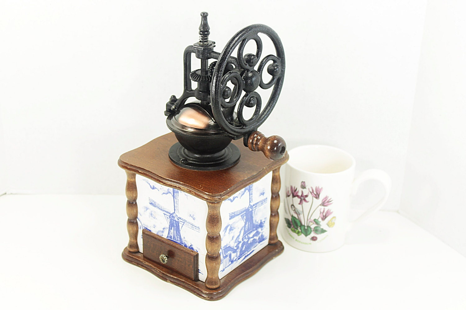 Hand Crank Coffee Grinder ~ Vintage hand crank coffee grinder with dutch windmill theme on