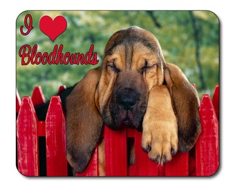 Bloodhound Dog, I Love Bloodhounds Mouse Mat, Mouse Pad