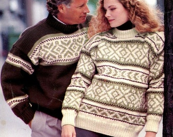 KNITTING Pattern Book - Sweaters for MEN & WOMEN - 7 Designs - Cardigans Pullovers Patons - Not a Pdf - Kenyon Books