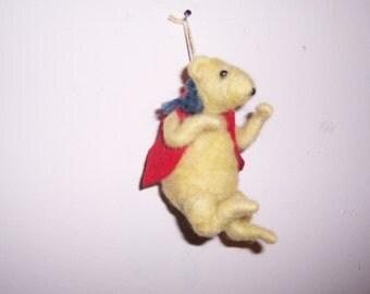 needle felted wool animal Pooh Bear