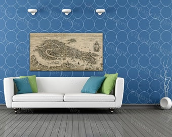 "Old Venice Map, Antique 1641 Venice map Restoration Hardware Style Old Map of Venice wall Map up to 43"" x 90"" Antique map Home Decor"
