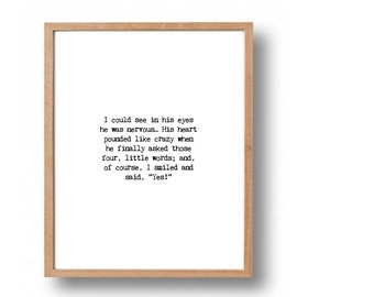Wedding Gift Table Sayings : ... Wedding Table Ideas, Typewriter Quote Print, Newlywed Gift, Love