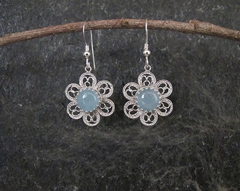 Aquamarine silver earrings,Silver earrings,Silver Filigree earrings,Aquamarine earrings, Israel jewelry