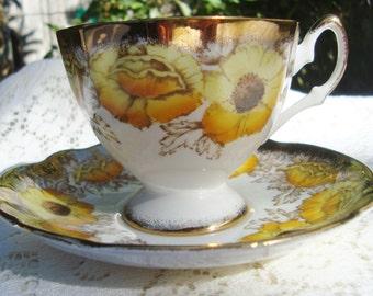 Iceland Poppy Tea Cup Salisbury Yellow Poppy with Gold Bone China England