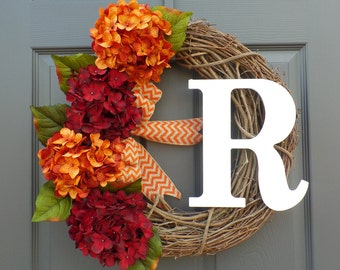 WREATH - hydrangea wreath - fall wreath - grapevine wreath - monogram wreath - harvest wreath - autumn wreath - personalized  wreath