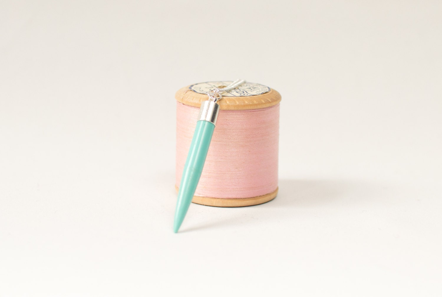 Knitting Needle Gauge Necklace : Knitting needle necklace in duck egg blue statement