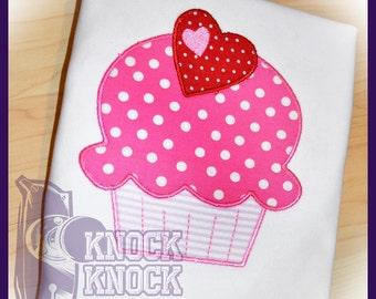 Valentine Cupcake Appliqued Shirt