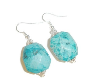 LargeTurquoise Chunk Earrings
