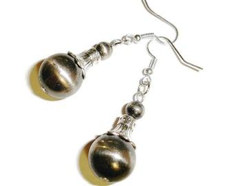 Gunmetal Dangle Earrings Gunmetal earrings Silver earrings Industrial earrings ball earrings dangle earrings silvery earrings silver earring