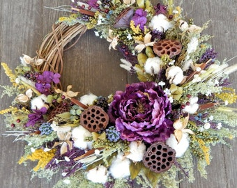 Front Door Wreath,Lotus Wreath, Spring Wreath, Fall Wreath, Holiday Wreath, Year Round Wreath