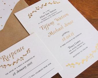 Golden Wreathe Wedding Invitation - Deposit