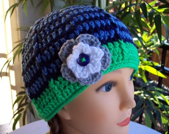Woman's Crocheted Beanie in Seattle Sports Team Colors