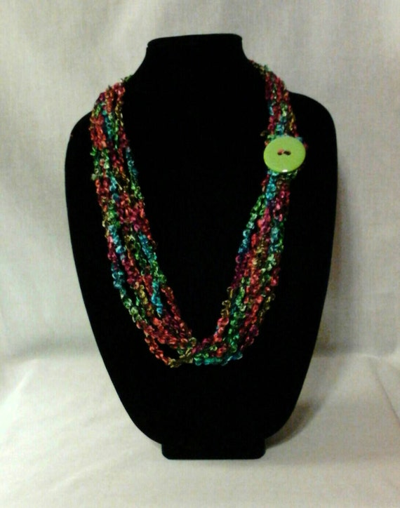 Chain Crochet Ladder Ribbon Yarn Necklace Scarf with Button